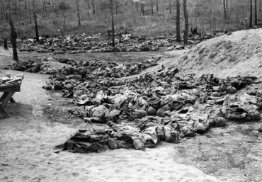 Rows of exhumed bodies of Polish officers placed on the ground by the mass graves awaiting examination. HU 106212 MINISTRY OF INFORMATION SECOND WORLD WAR PRESS AGENCY PRINT COLLECTION