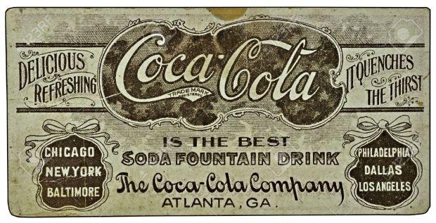 Vintage-Coca-Cola-ad-on-a-card--Stock-Photo-coke