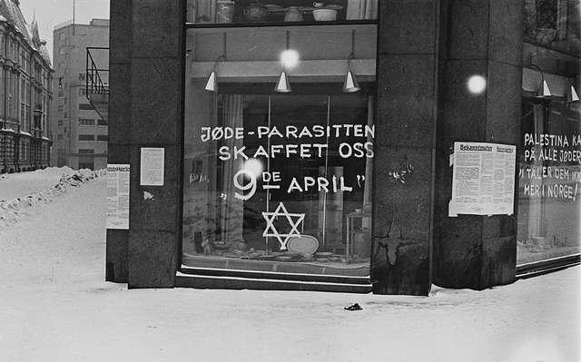 Anti-Semite_graffiti_Oslo_1941