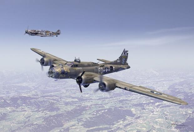 B-17F_Ye_Olde_Pub_in_front___Bf_109_In_back_as_escort