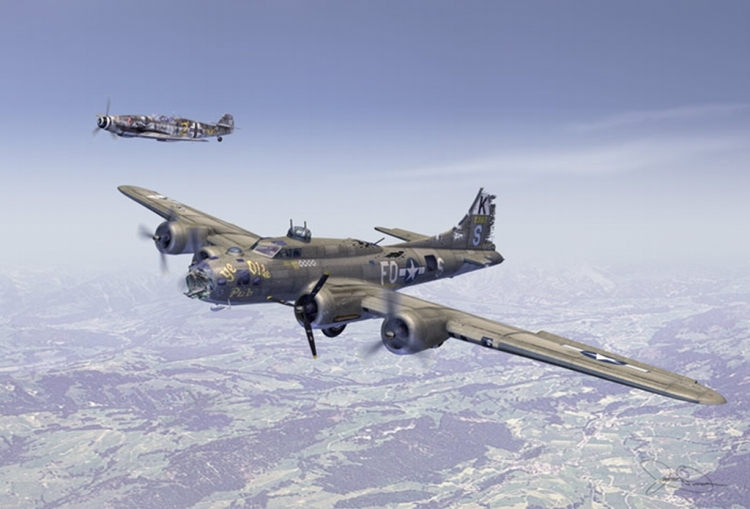 B-17F_Ye_Olde_Pub_in_front___Bf_109_In_back_as_escort