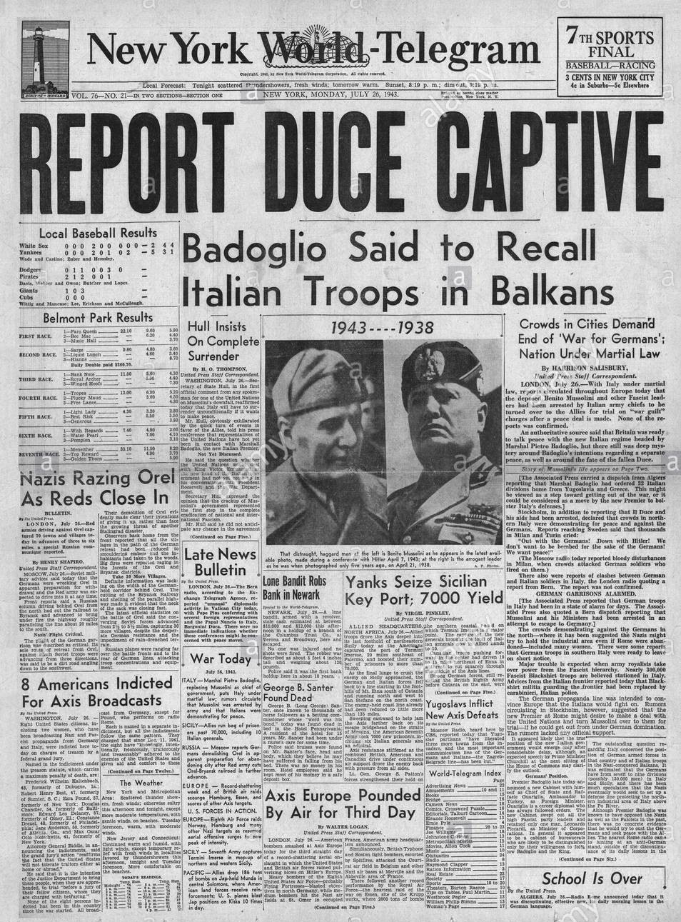 1943-new-york-world-telegram-front-page-reporting-arrest-of-mussolini-e5gdrw
