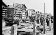 Feb. 23, 1942: Japanese residents of Terminal Island load truck after the U.S. Navy ordered the area cleared. About 1,000 Japanese were ordered off Terminal Island. This photo was published in the Feb. 24, 1942 Los Angeles Times.
