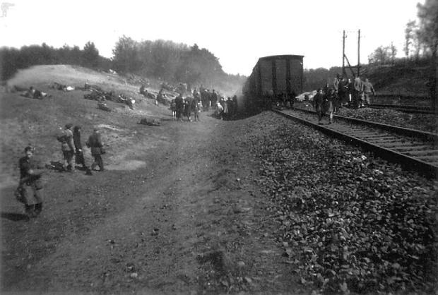 Jewish prisoners after being liberated from a death train, 1945 small (7)