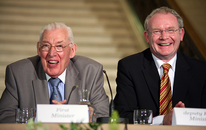 MI Rev Ian Paisley DUP Martin McGuinness Sinn Fein Stormount Photocall