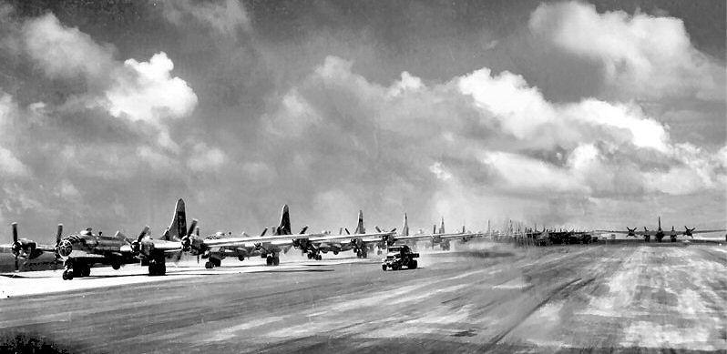 39th_Bomb_Group_B-29s_at_North_Field_Guam_-_Summer_1945