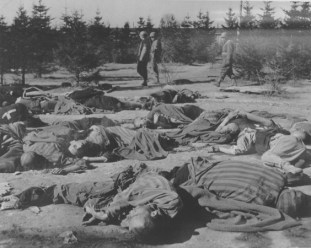 Ohrdruf_Liberation_Corpses_Prisoners_American_Soldiers