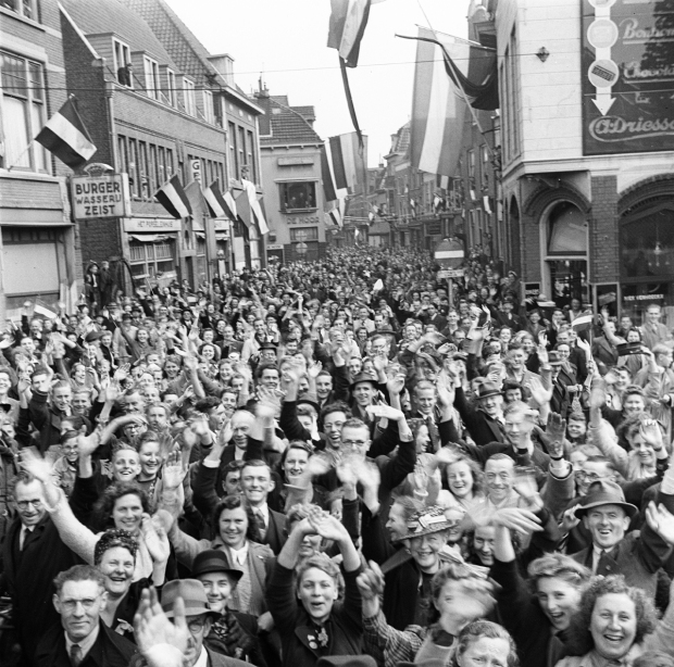 An ecstatic crowd in Utrecht welcomes the Canadian liberators