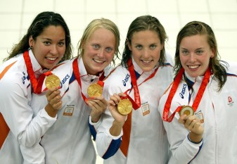 Inge Dekker with Olympic gold medal Beijing 2008
