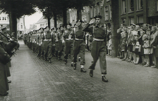 Ontarios parade in Holland to celebrate Dutch liberation, 1945