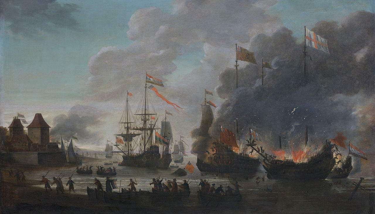 1280px-The_Dutch_burn_English_ships_during_the_expedition_to_Chatham_(Raid_on_Medway,_1667)(Jan_van_Leyden,_1669)