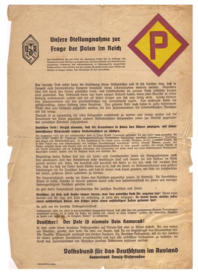 """Anti-Polish_poster_published_by_Volksbund_für_das_Deutschtum_im_Ausland_(Association_for_'Germanness'_abroad)_Gauverband_Danzig_Westpreußen_(Association_of_the_""""shire_or_county"""",_G"""