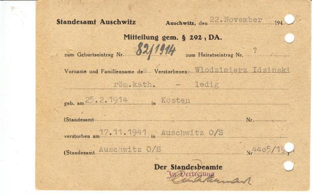 auschwitz - death notice