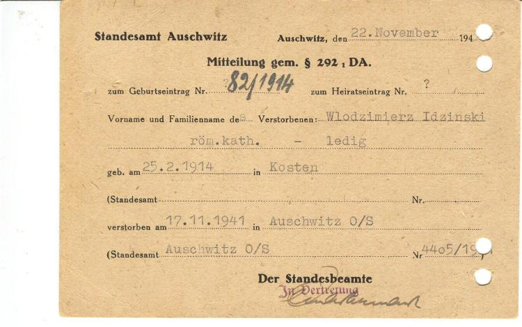 auschwitz - death notice