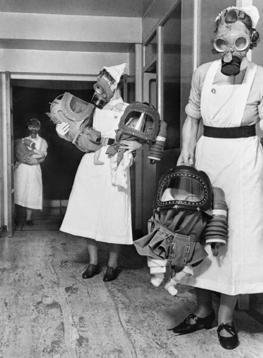 Gas masks for babies tested at an English hospital, 1940 (1)