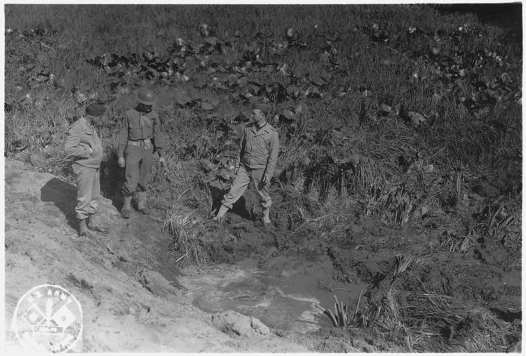 Shell_crater_resulting_form_Japanese_shelling_on_Fort_Stevens._-_NARA_-_299678