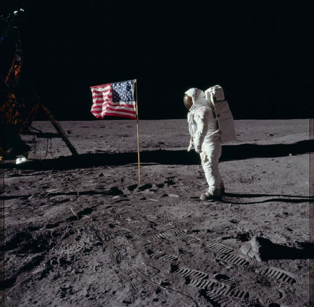 Astronaut Edwin Buzz Aldrin on the surface of the moon, 1969