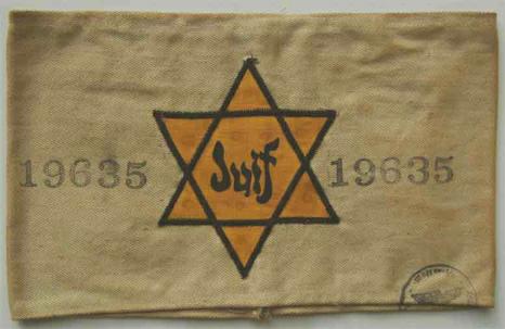 019-Frankreich-armband-weiss-m-gelbem-judenstern-u-inschrift-juif