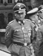 Lettland-Riga, Ankunft von Hinrich Lohse mit Offizieren am Bahnhof