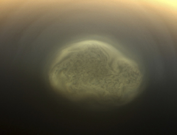 A true color image of Titan's colorful south polar vortex captured by NASA's Cassini spacecraft