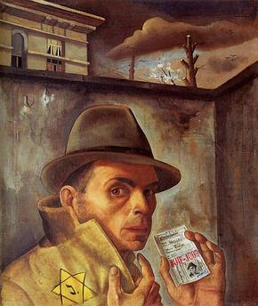 Self_Portrait_with_Jewish_Identity_Card_-Felix_Nussbaum_-_1943