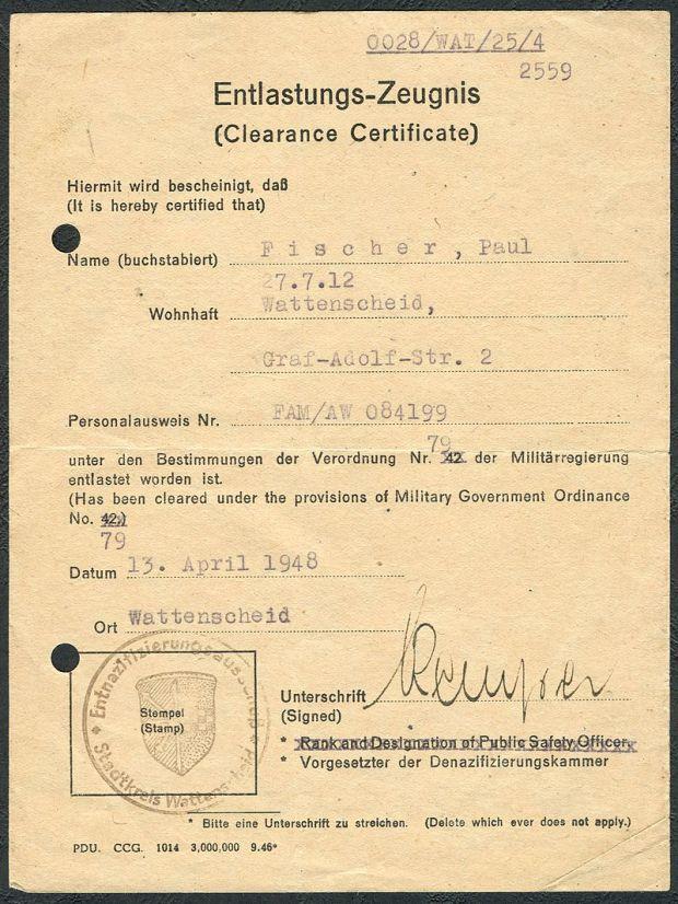 800px-Amtsdokument_Paul_Fischer_1948_Zivilist_Entlastungs-Zeugnis_Clearance_Certificate_Entnazifizierungsausschuß_Stadtkreis_Wattenscheid