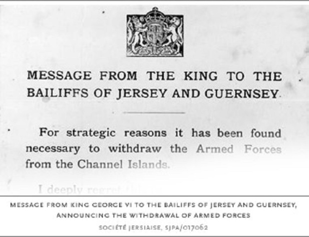 Message from King George to Bailiffs of Jersey and Guernsey