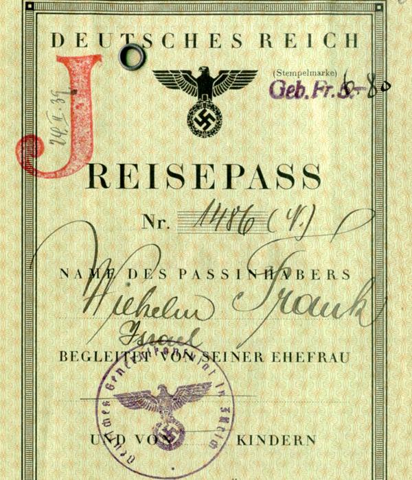 Reisepass_Wilhelm_Frank_mit_J-Stempel