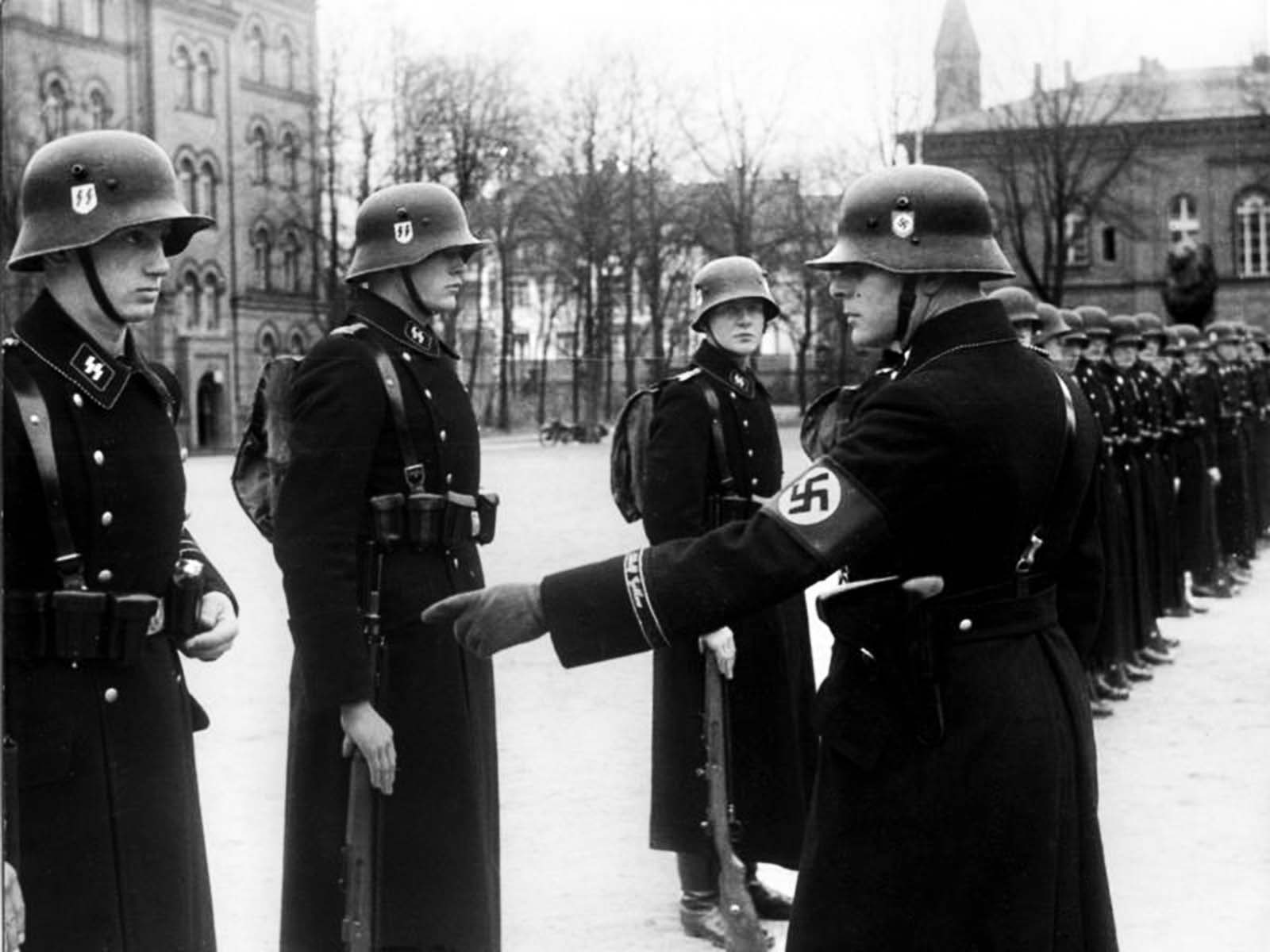 Hitler's personal bodyguard undergo a drill inspection in Berlin, November 1938
