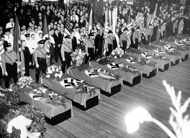 Funeral services for the 28 Germans who lost their lives in the Hindenburg disaster, New York, 1937