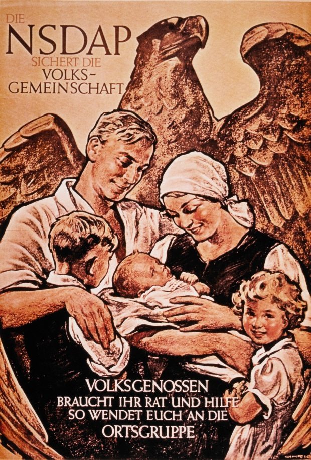 Family in Front of Eagle, Nazi Party (NSDAP) Political Poster, Germany, 1936