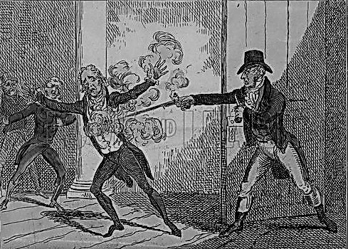 John Bellingham assassinating the Rt Hon Spencer Perceval in the Lobby of the House of Commons, 11 May 1812