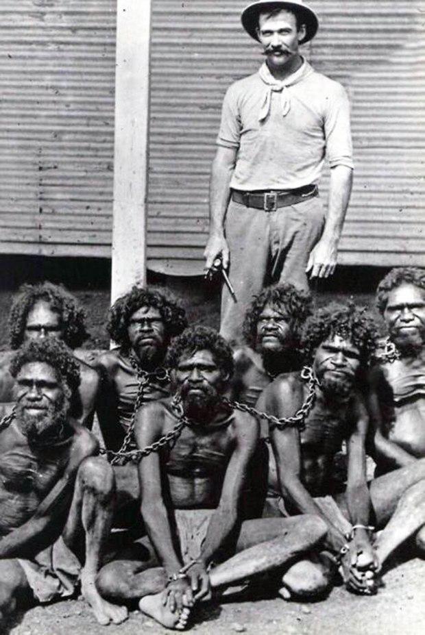 Australian Aborigines in chains at Wyndham prison, 1902